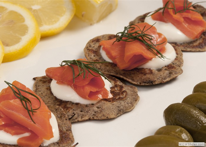 Blini with Smoked Salmon Hors D'Oeuvres or Station